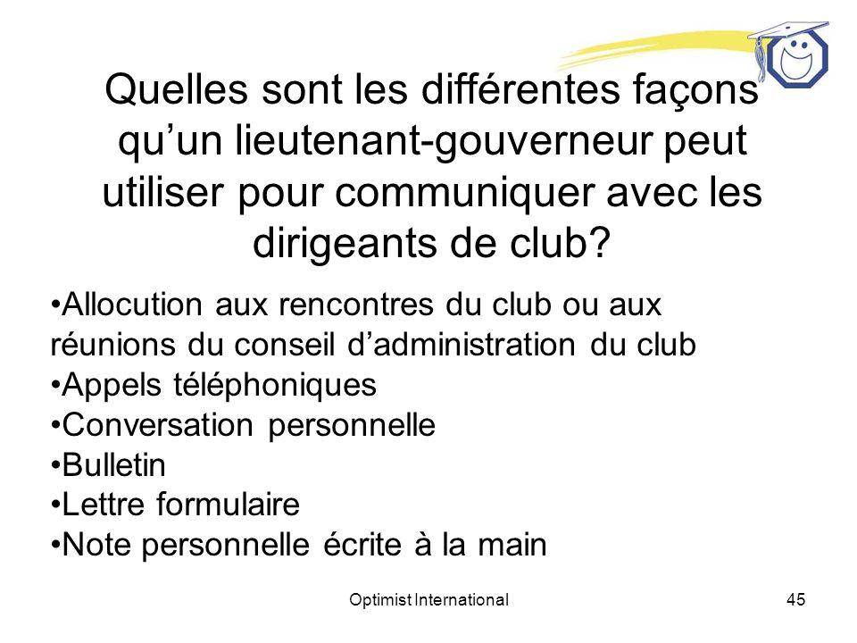 Optimist International44 Quelles sont les différentes façons quun lieutenant-gouverneur peut utiliser pour communiquer avec les dirigeants de club.