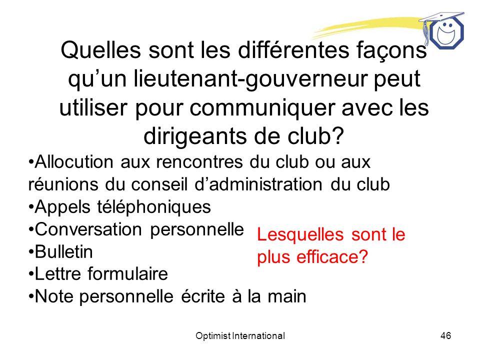 Optimist International45 Quelles sont les différentes façons quun lieutenant-gouverneur peut utiliser pour communiquer avec les dirigeants de club.