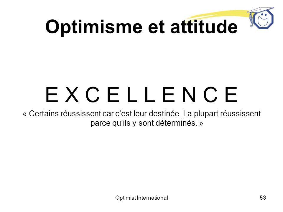 Optimist International52 Optimisme et attitude E F F O R T « La vie ne nous demande pas dêtre le meilleur, seulement dessayer.