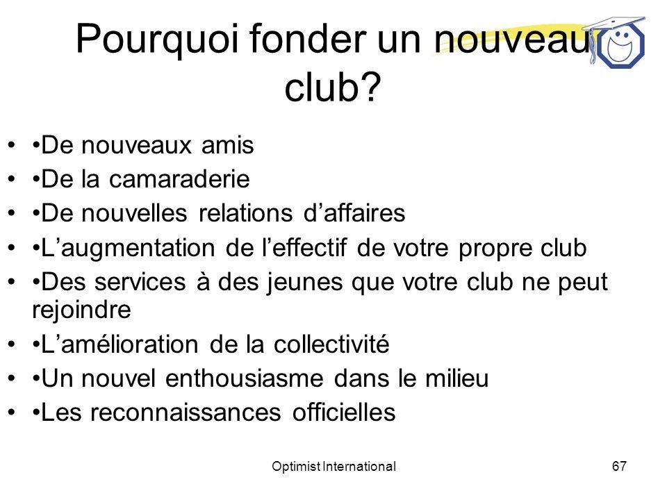 Optimist International66 Fondation de nouveaux clubs Le lieutenant-gouverneur est la principale personne qui puisse convaincre les présidents de club du bien fondé de la fondation dun nouveau club dans la zone.