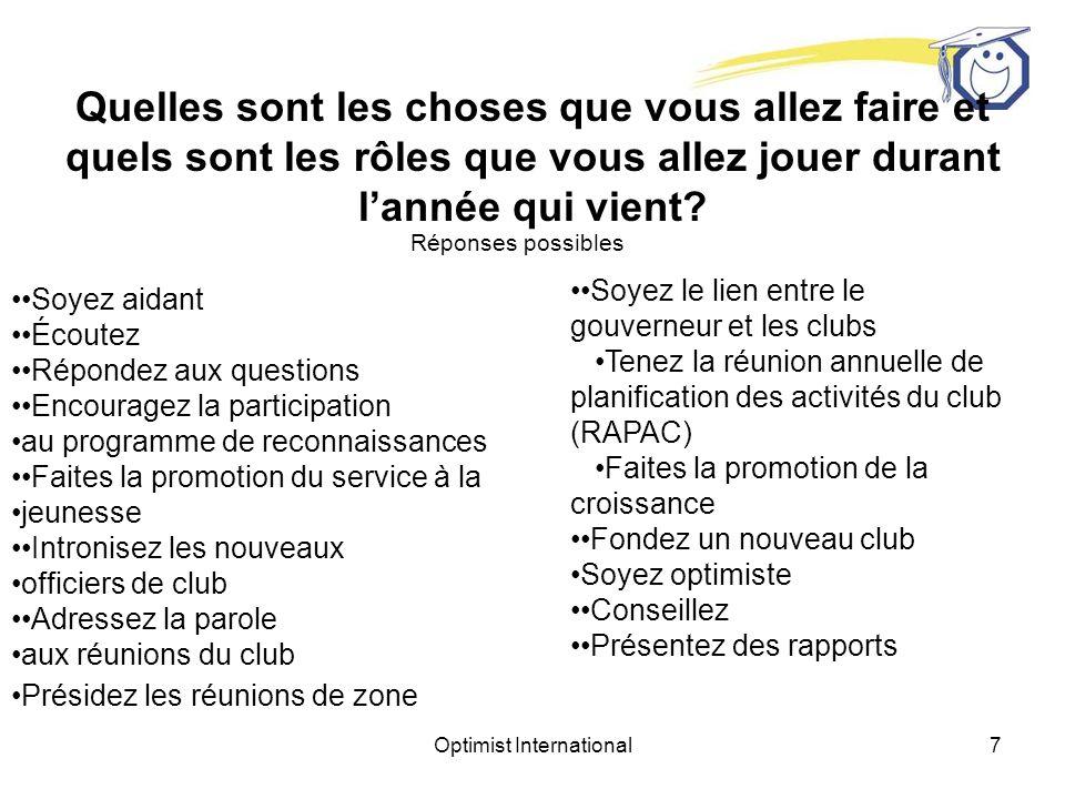 Optimist International47 Table ronde Quelles occasions est-ce que jaurai pour parler en tête-à- tête à un dirigeant de club.
