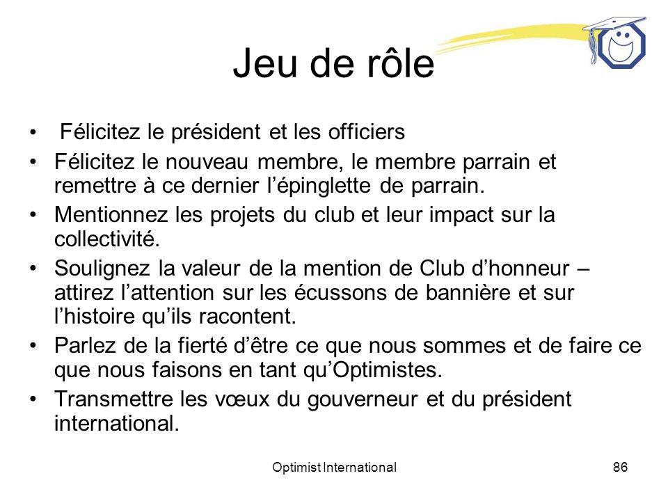 Optimist International85 Jeu de rôle Avant de procéder à lintronisation, le lieutenant-gouverneur pourra parler aux membres du club pendant quelques minutes.