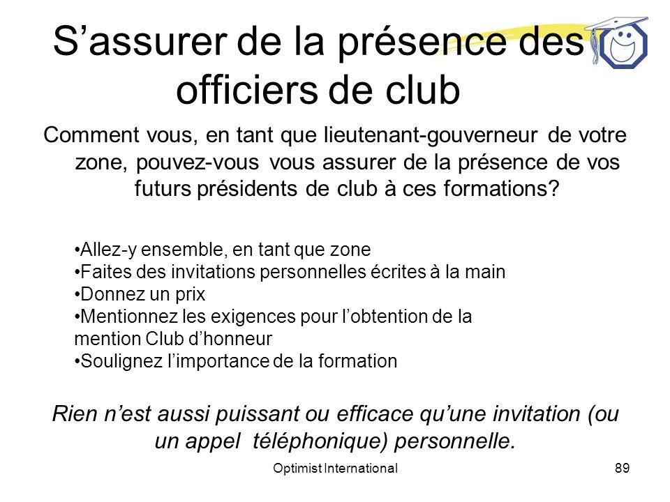 Optimist International88 Sassurer de la présence des officiers de club Comment vous, en tant que lieutenant- gouverneur de votre zone, pouvez-vous vous assurer de la présence de vos futurs présidents de club à ces formations?