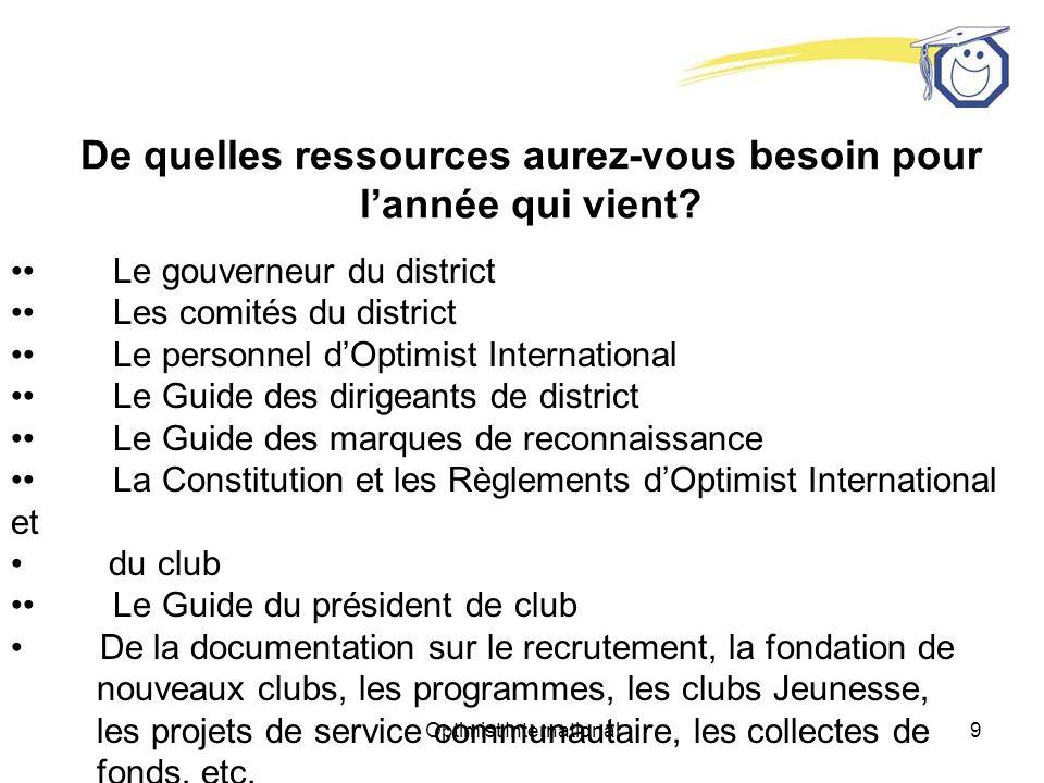 Optimist International89 Sassurer de la présence des officiers de club Comment vous, en tant que lieutenant-gouverneur de votre zone, pouvez-vous vous assurer de la présence de vos futurs présidents de club à ces formations.