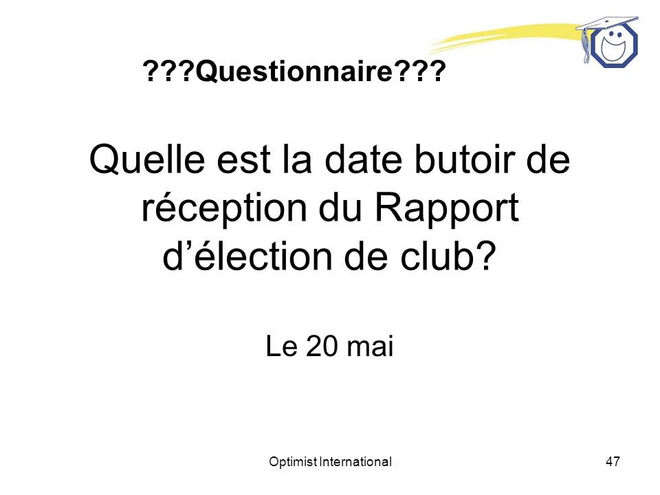 Optimist International46 Quelle est la date butoir de réception du Rapport délection de club.