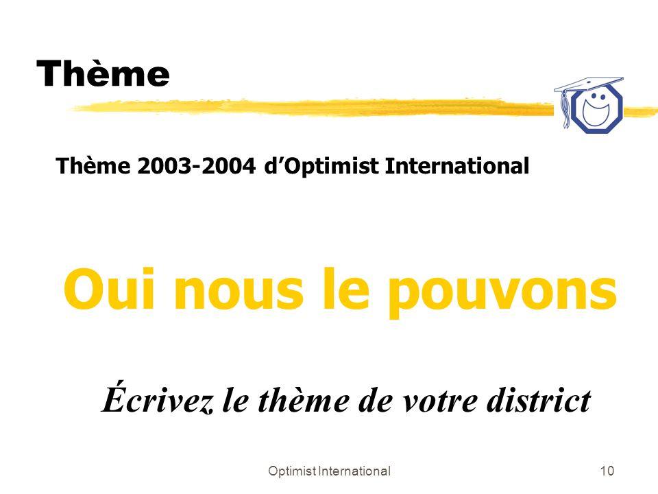 Optimist International10 Thème Thème 2003-2004 dOptimist International Oui nous le pouvons Écrivez le thème de votre district