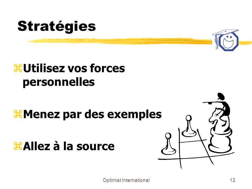 Optimist International12 Stratégies zUtilisez vos forces personnelles zMenez par des exemples zAllez à la source