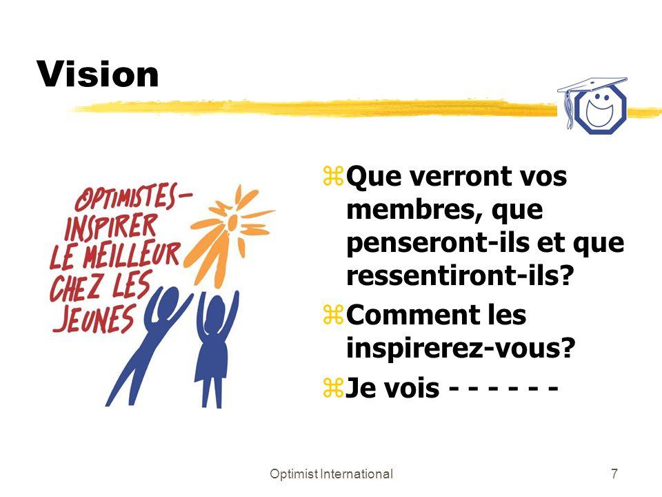 Optimist International8 Vision zLénoncé de la vision dOptimist International : z Optimist International est reconnu mondialement comme étant une organisation engagée envers loptimisme et au développement personnel pour lamélioration de la jeunesse et de la collectivité.