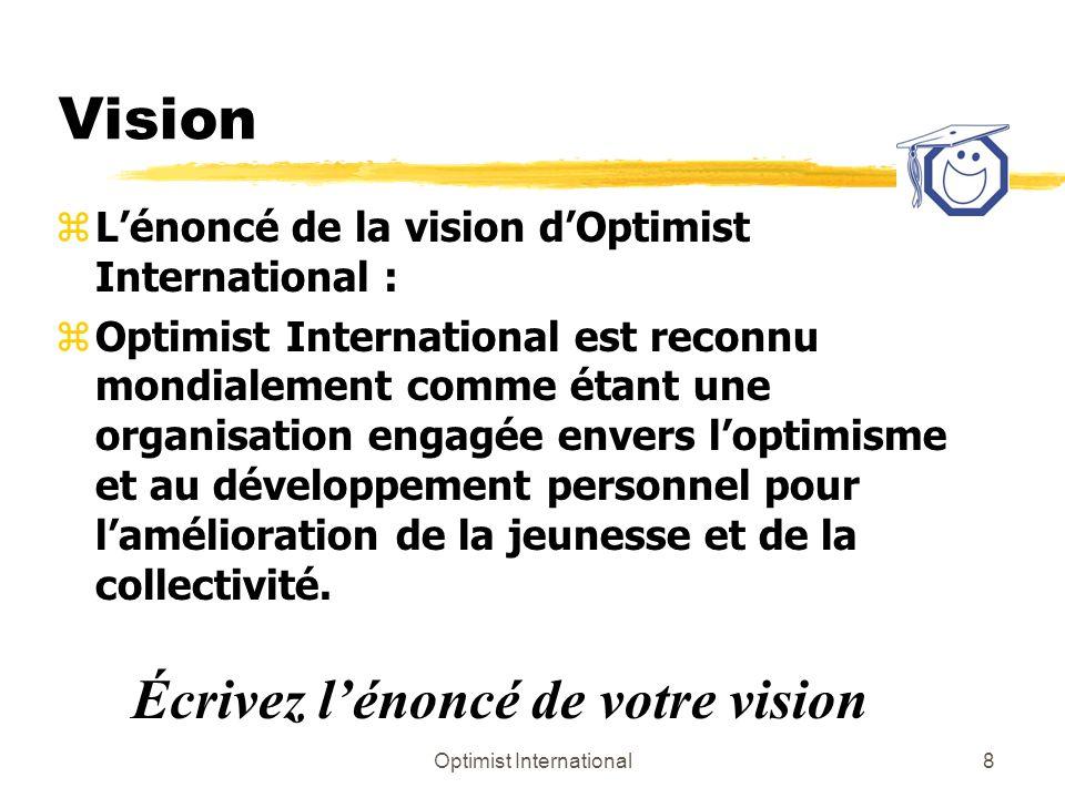 Optimist International9 Thème zLe thème est la façon dont vous transmettez votre vision zDevrait compléter OI zRelations personnelles yTravail, passe-temps, identité