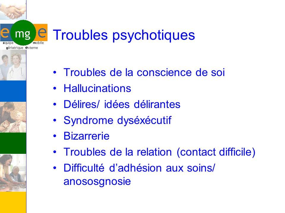 Troubles de la conscience de soi Hallucinations Délires/ idées délirantes Syndrome dyséxécutif Bizarrerie Troubles de la relation (contact difficile)