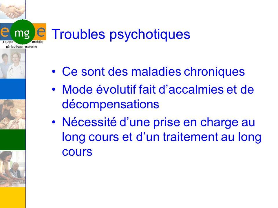 Troubles psychotiques Ce sont des maladies chroniques Mode évolutif fait daccalmies et de décompensations Nécessité dune prise en charge au long cours