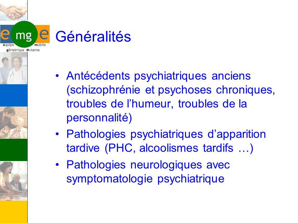 Généralités Antécédents psychiatriques anciens (schizophrénie et psychoses chroniques, troubles de lhumeur, troubles de la personnalité) Pathologies p