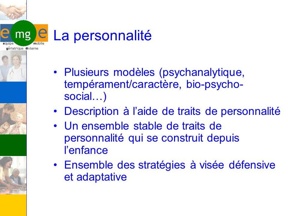 La personnalité Plusieurs modèles (psychanalytique, tempérament/caractère, bio-psycho- social…) Description à laide de traits de personnalité Un ensem