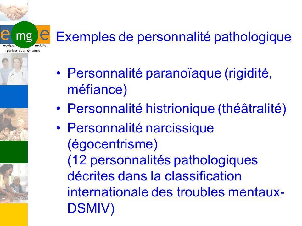 Exemples de personnalité pathologique Personnalité paranoïaque (rigidité, méfiance) Personnalité histrionique (théâtralité) Personnalité narcissique (