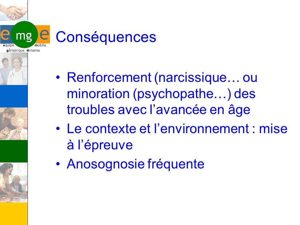 Conséquences Renforcement (narcissique… ou minoration (psychopathe…) des troubles avec lavancée en âge Le contexte et lenvironnement : mise à lépreuve
