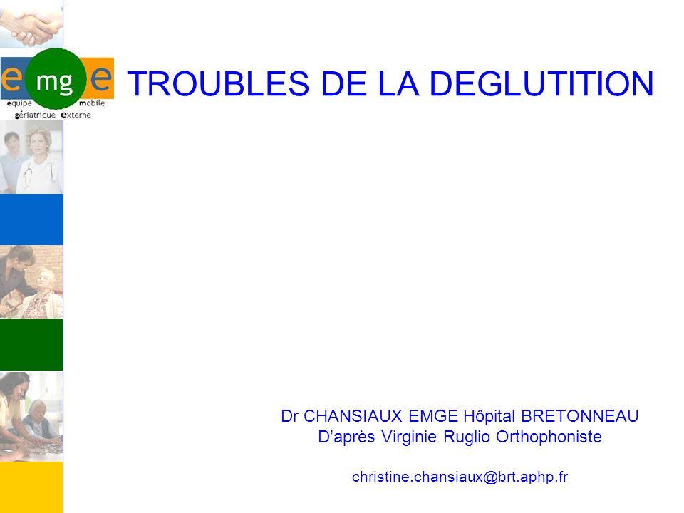 TROUBLES DE LA DEGLUTITION Dr CHANSIAUX EMGE Hôpital BRETONNEAU Daprès Virginie Ruglio Orthophoniste christine.chansiaux@brt.aphp.fr