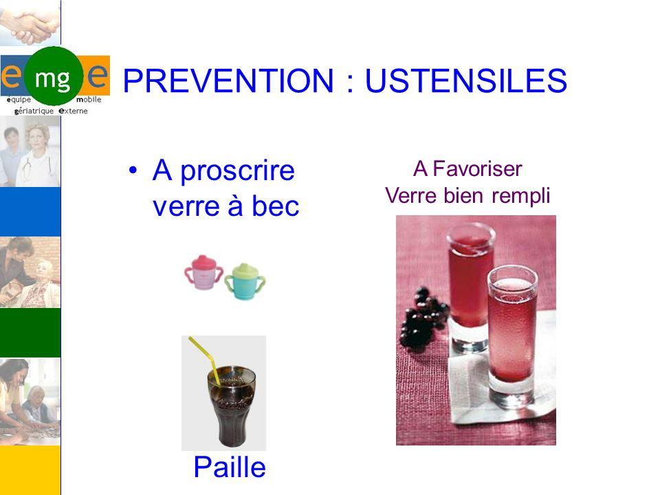PREVENTION : USTENSILES A proscrire verre à bec Paille A Favoriser Verre bien rempli