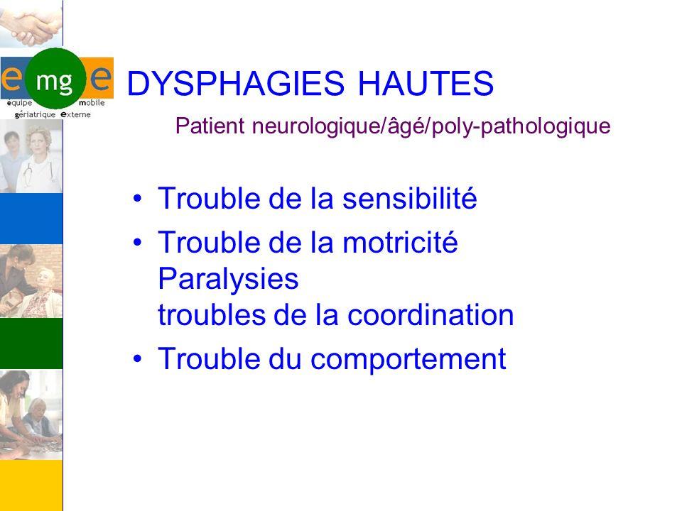 DYSPHAGIES HAUTES Trouble de la sensibilité Trouble de la motricité Paralysies troubles de la coordination Trouble du comportement Patient neurologiqu