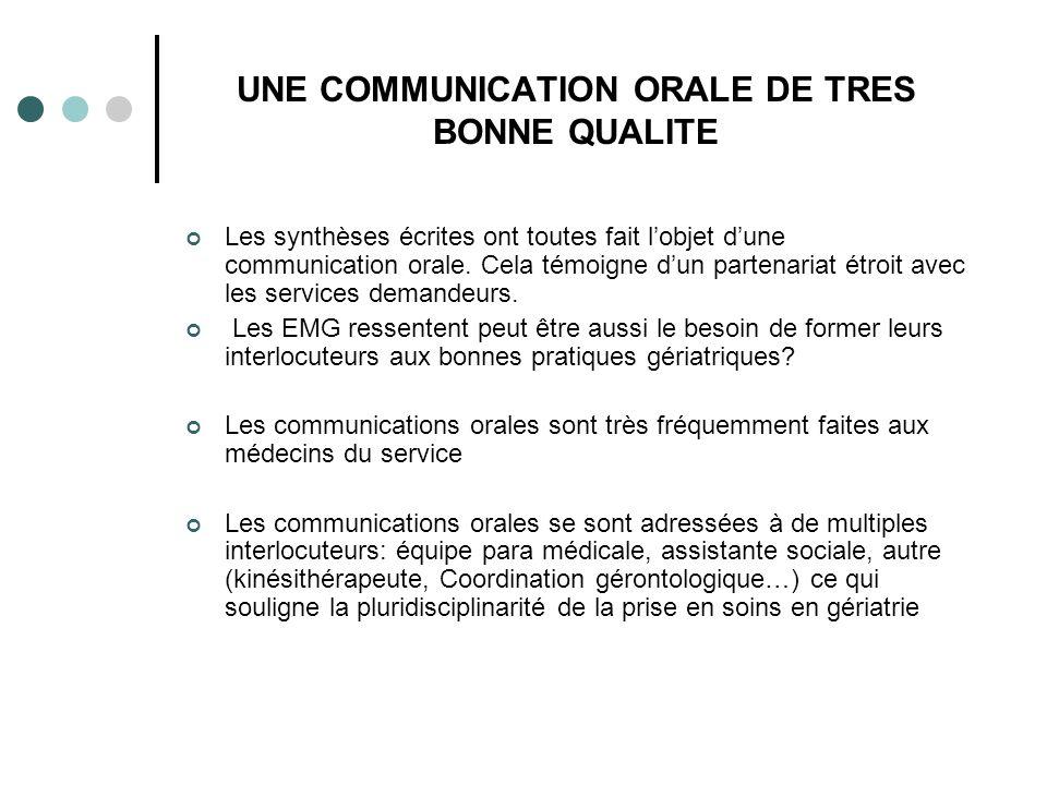 UNE COMMUNICATION ORALE DE TRES BONNE QUALITE Les synthèses écrites ont toutes fait lobjet dune communication orale.