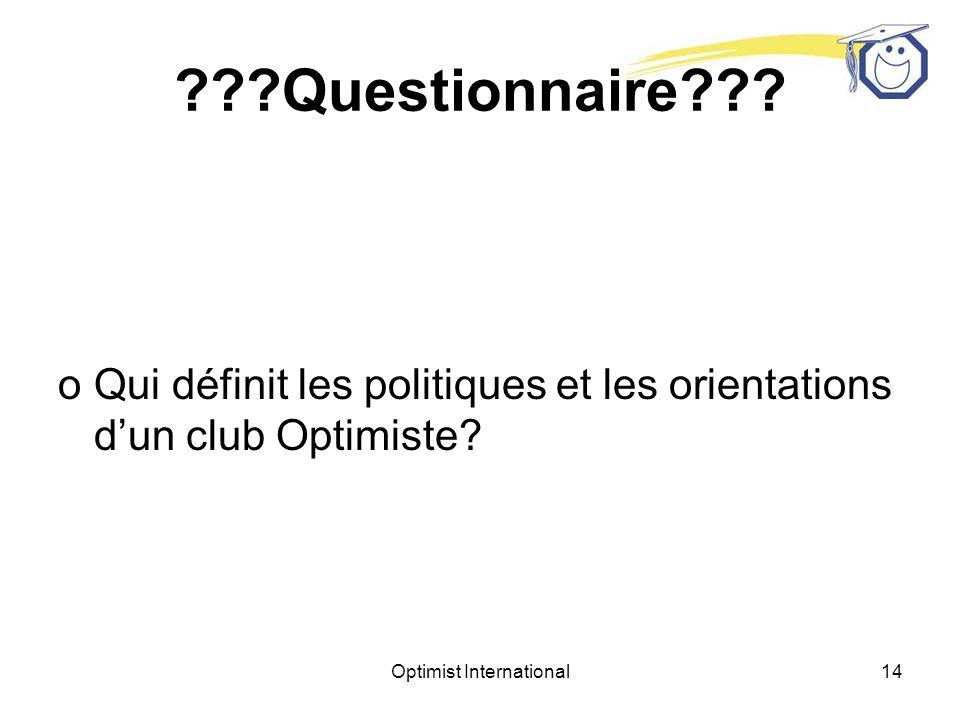 Optimist International13 Questionnaire .