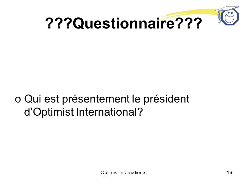 Optimist International15 Questionnaire .