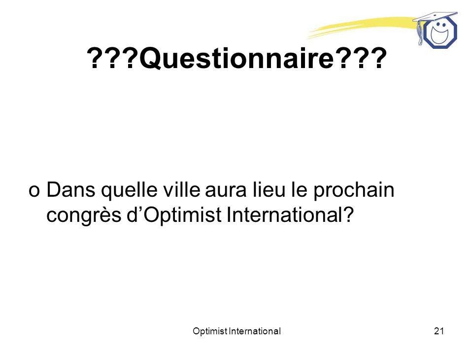 Optimist International20 Questionnaire .