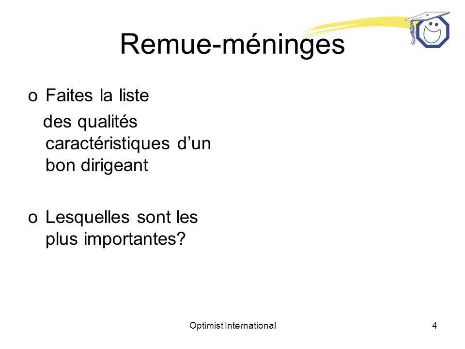 Optimist International4 Remue-méninges oFaites la liste des qualités caractéristiques dun bon dirigeant oLesquelles sont les plus importantes?