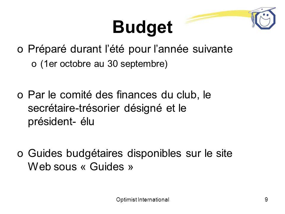 Optimist International9 Budget oPréparé durant lété pour lannée suivante o(1er octobre au 30 septembre) oPar le comité des finances du club, le secrétaire-trésorier désigné et le président- élu oGuides budgétaires disponibles sur le site Web sous « Guides »
