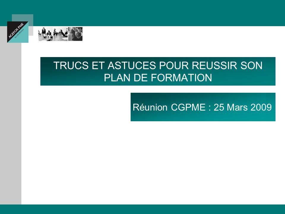 TRUCS ET ASTUCES POUR REUSSIR SON PLAN DE FORMATION Réunion CGPME : 25 Mars 2009