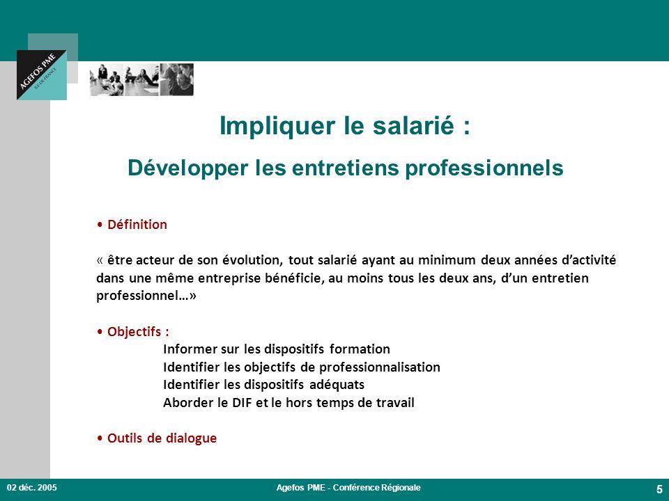 02 déc. 2005Agefos PME - Conférence Régionale 5 Impliquer le salarié : Développer les entretiens professionnels Définition « être acteur de son évolut