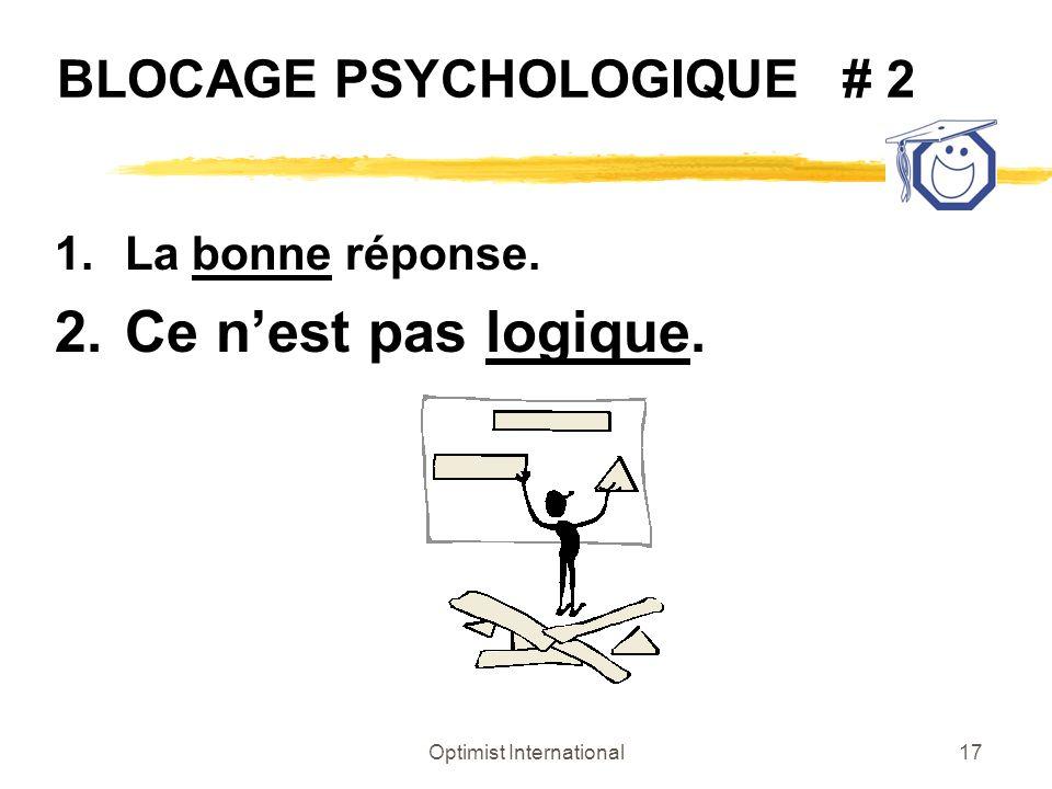 Optimist International17 BLOCAGE PSYCHOLOGIQUE # 2 1.La bonne réponse. 2.Ce nest pas logique.