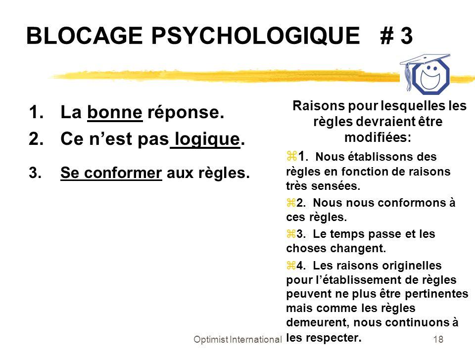 Optimist International18 BLOCAGE PSYCHOLOGIQUE # 3 1.La bonne réponse. 2.Ce nest pas logique. 3.Se conformer aux règles. Raisons pour lesquelles les r
