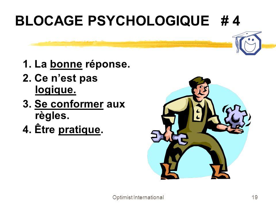Optimist International19 BLOCAGE PSYCHOLOGIQUE # 4 1. La bonne réponse. 2. Ce nest pas logique. 3. Se conformer aux règles. 4. Être pratique.