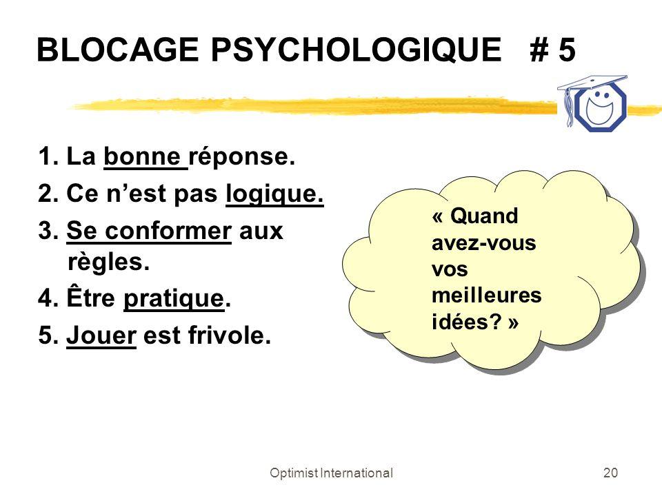 Optimist International20 BLOCAGE PSYCHOLOGIQUE # 5 1. La bonne réponse. 2. Ce nest pas logique. 3. Se conformer aux règles. 4. Être pratique. 5. Jouer