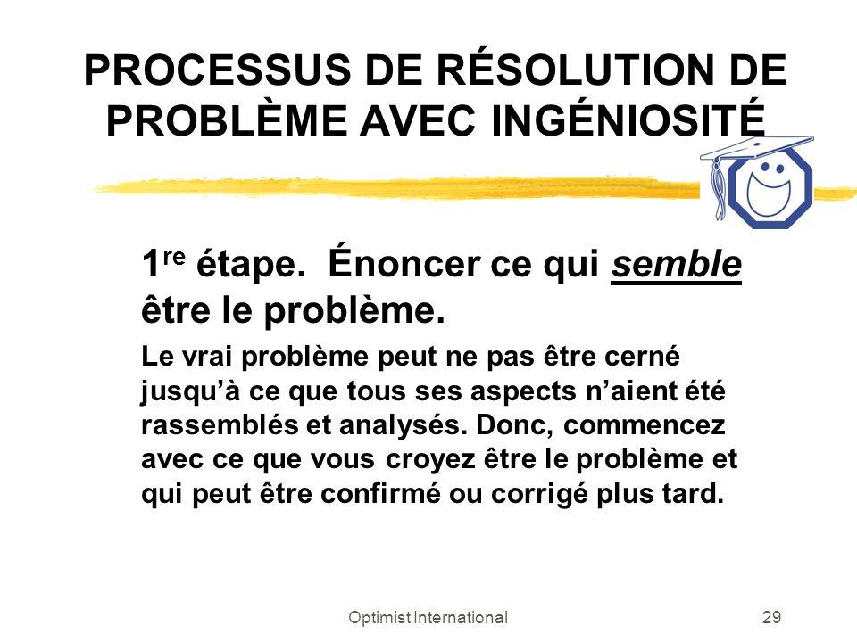 Optimist International29 PROCESSUS DE RÉSOLUTION DE PROBLÈME AVEC INGÉNIOSITÉ 1 re étape. Énoncer ce qui semble être le problème. Le vrai problème peu