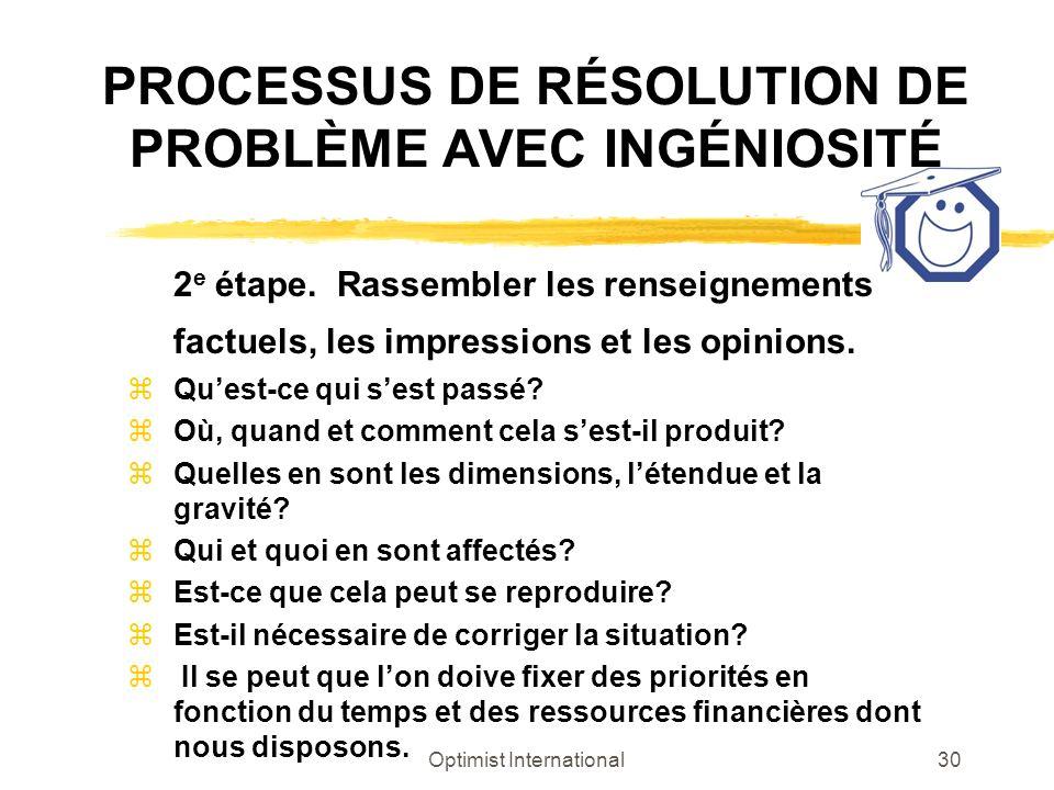Optimist International30 PROCESSUS DE RÉSOLUTION DE PROBLÈME AVEC INGÉNIOSITÉ 2 e étape. Rassembler les renseignements factuels, les impressions et le