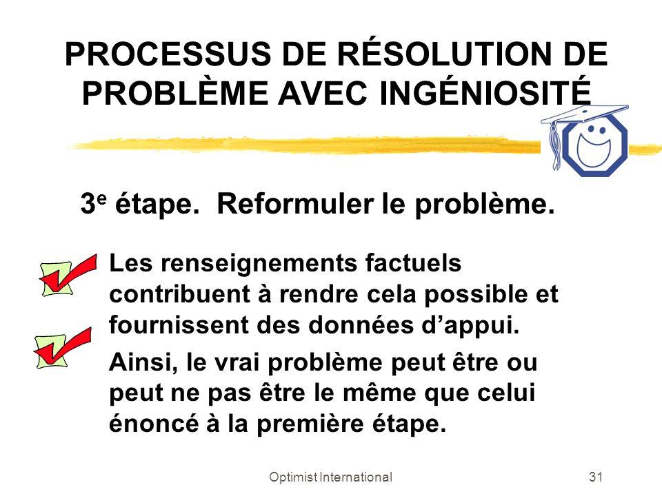 Optimist International31 PROCESSUS DE RÉSOLUTION DE PROBLÈME AVEC INGÉNIOSITÉ 3 e étape. Reformuler le problème. Les renseignements factuels contribue