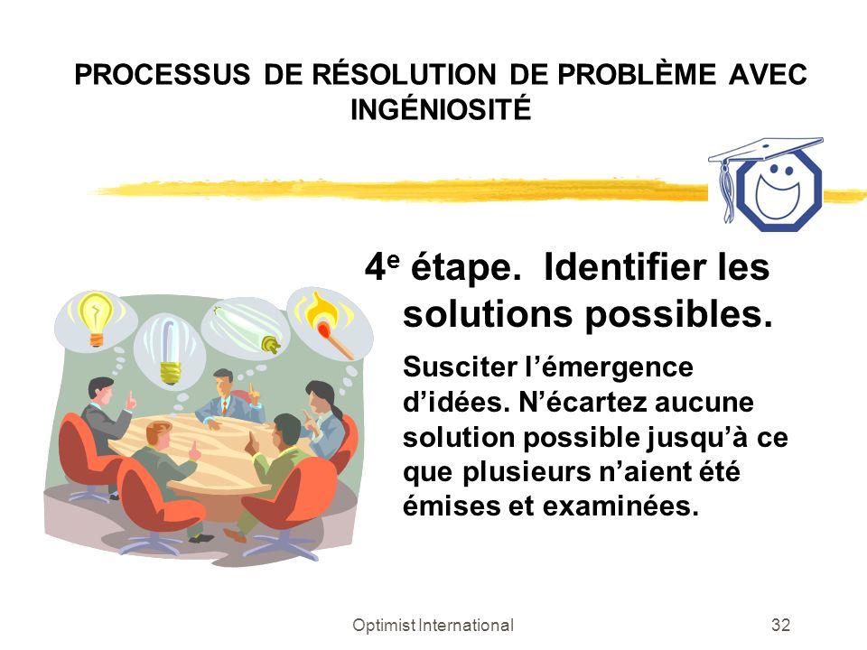 Optimist International32 PROCESSUS DE RÉSOLUTION DE PROBLÈME AVEC INGÉNIOSITÉ 4 e étape. Identifier les solutions possibles. Susciter lémergence didée