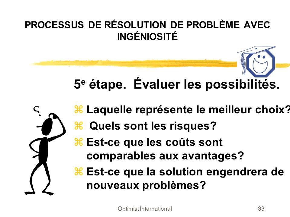 Optimist International33 PROCESSUS DE RÉSOLUTION DE PROBLÈME AVEC INGÉNIOSITÉ 5 e étape. Évaluer les possibilités. z Laquelle représente le meilleur c