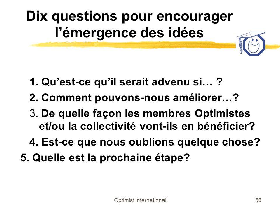 Optimist International36 Dix questions pour encourager lémergence des idées 1. Quest-ce quil serait advenu si… ? 2. Comment pouvons-nous améliorer…? 3