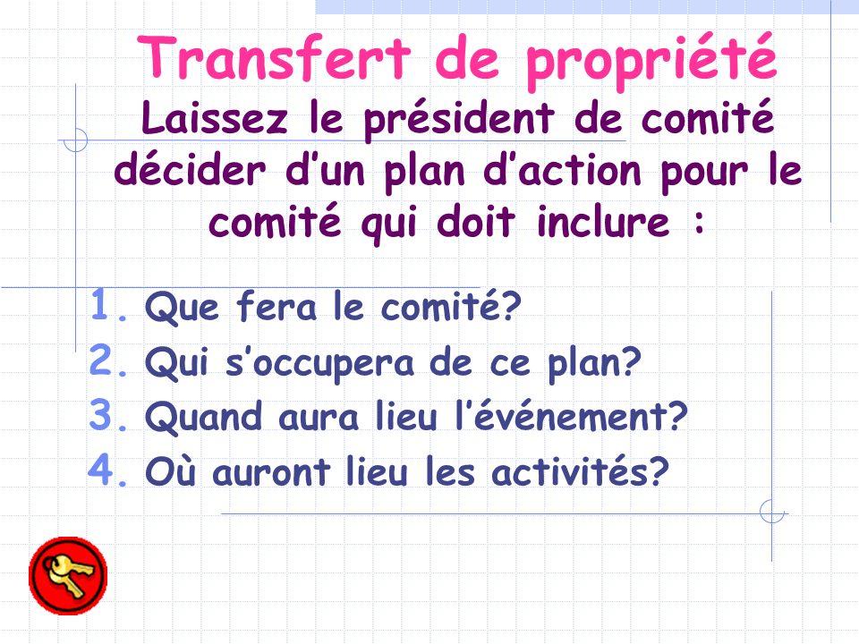 Transfert de propriété Laissez le président de comité décider dun plan daction pour le comité qui doit inclure : Que fera le comité.