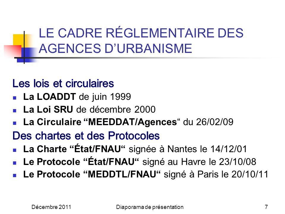 Décembre 2011Diaporama de présentation7 LE CADRE RÉGLEMENTAIRE DES AGENCES DURBANISME