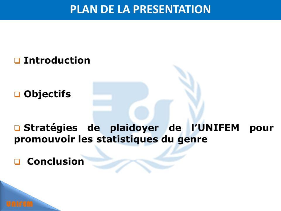 PLAN DE LA PRESENTATION UNIFEM Introduction Objectifs Stratégies de plaidoyer de lUNIFEM pour promouvoir les statistiques du genre Conclusion