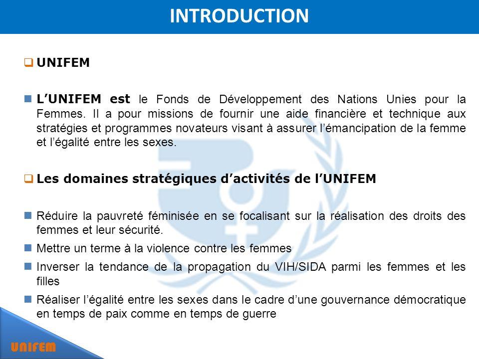 INTRODUCTION UNIFEM LUNIFEM est le Fonds de Développement des Nations Unies pour la Femmes.
