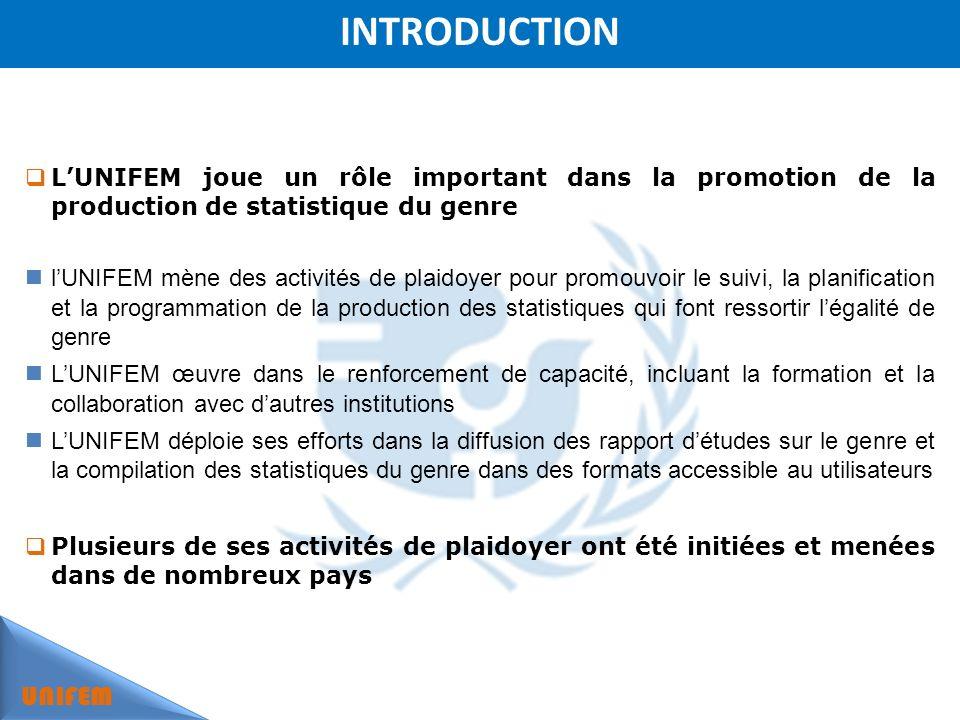 INTRODUCTION UNIFEM LUNIFEM joue un rôle important dans la promotion de la production de statistique du genre lUNIFEM mène des activités de plaidoyer pour promouvoir le suivi, la planification et la programmation de la production des statistiques qui font ressortir légalité de genre LUNIFEM œuvre dans le renforcement de capacité, incluant la formation et la collaboration avec dautres institutions LUNIFEM déploie ses efforts dans la diffusion des rapport détudes sur le genre et la compilation des statistiques du genre dans des formats accessible au utilisateurs Plusieurs de ses activités de plaidoyer ont été initiées et menées dans de nombreux pays