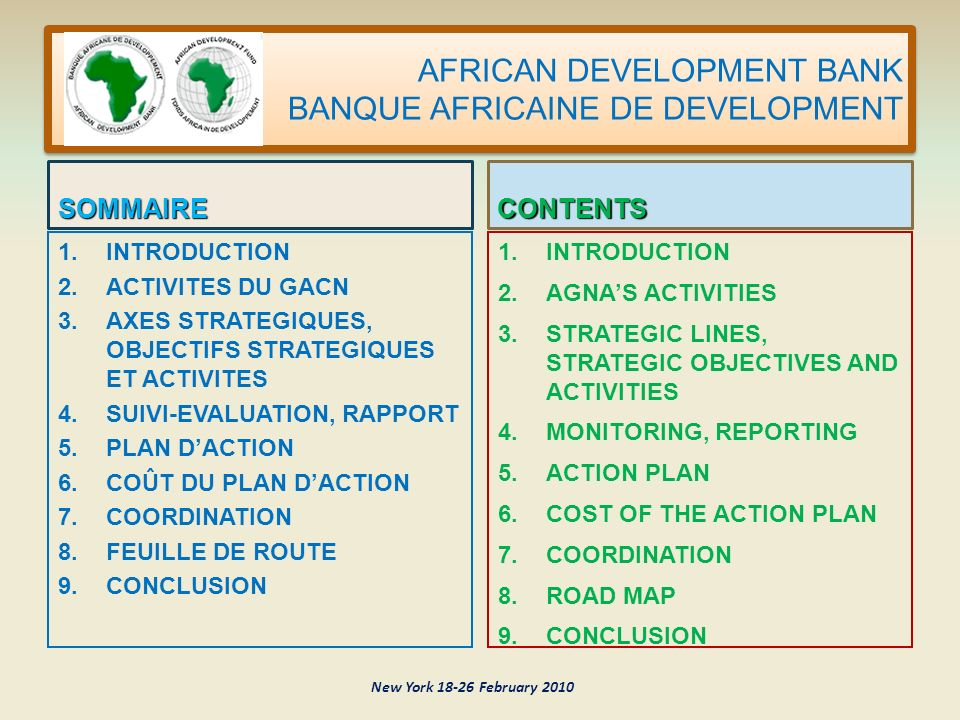 AFRICAN DEVELOPMENT BANK BANQUE AFRICAINE DE DEVELOPMENT SOMMAIRE 1.
