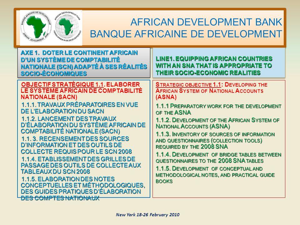 AFRICAN DEVELOPMENT BANK BANQUE AFRICAINE DE DEVELOPMENT New York 18-26 February 2010 O BJECTIF STRATÉGIQUE 1.1.