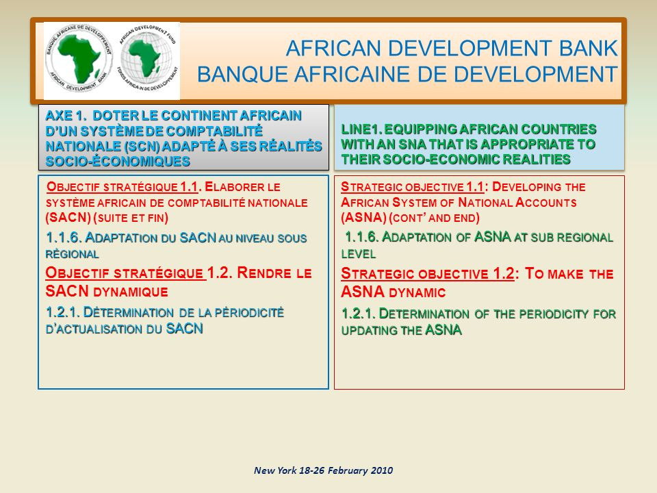 AFRICAN DEVELOPMENT BANK BANQUE AFRICAINE DE DEVELOPMENT New York 18-26 February 2010 O BJECTIF STRATÉGIQUE 1.1.