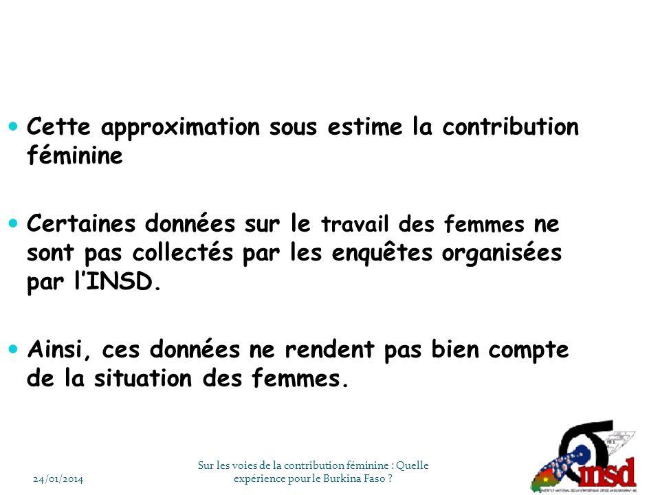 Cette approximation sous estime la contribution féminine Certaines données sur le travail des femmes ne sont pas collectés par les enquêtes organisées par lINSD.