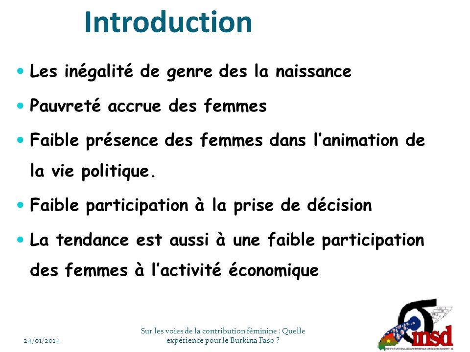 Introduction Les inégalité de genre des la naissance Pauvreté accrue des femmes Faible présence des femmes dans lanimation de la vie politique.